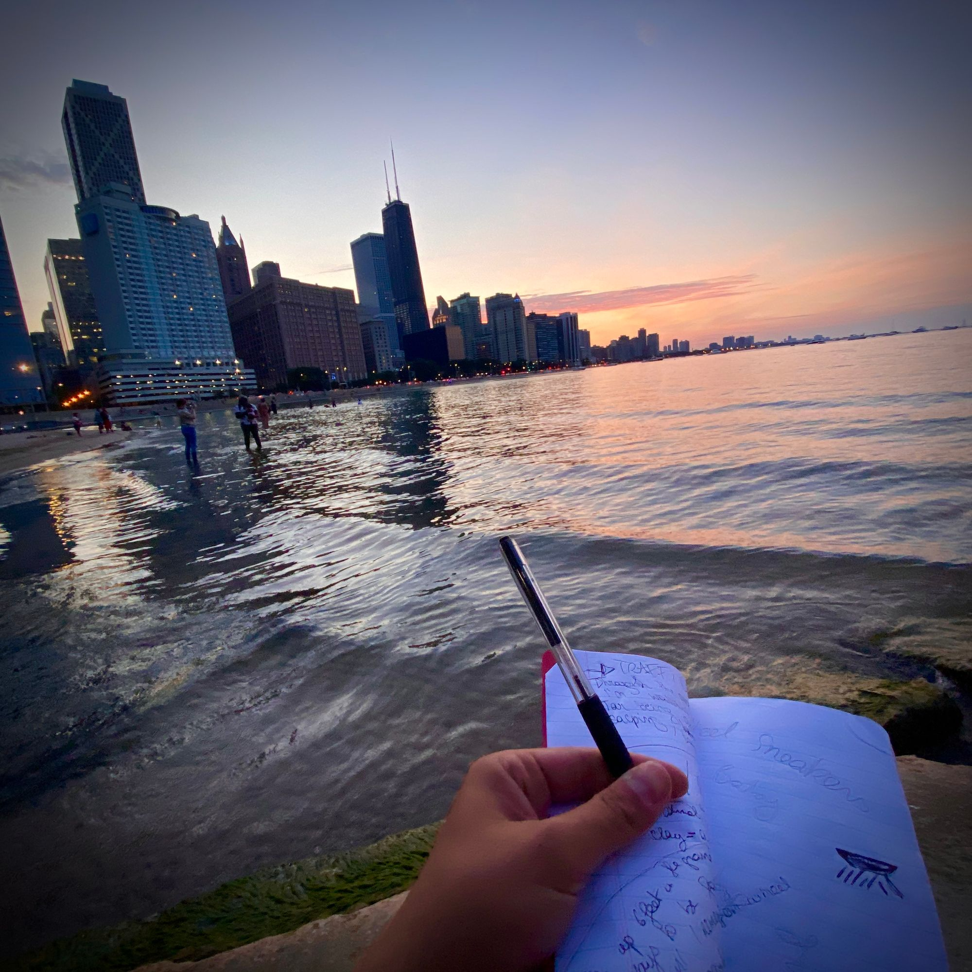 Ghalia's notebook by a Chicago lake.